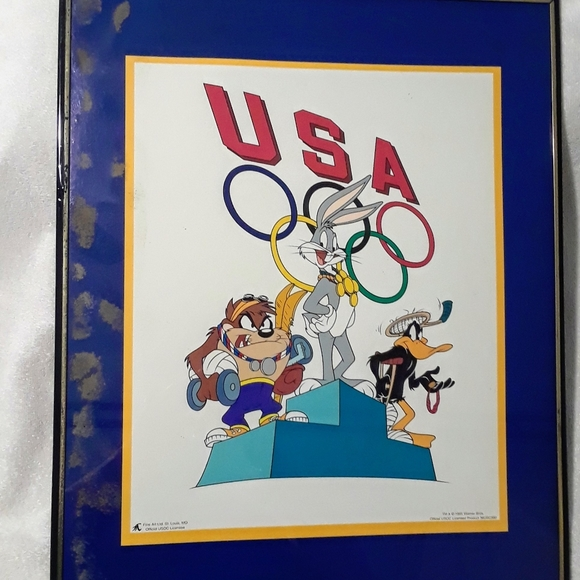 Vintage Looney tunes Olympic framed photo